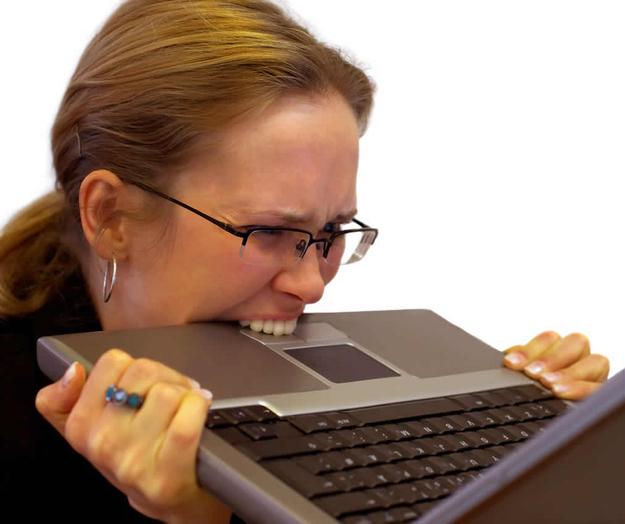 woman eating keyboard